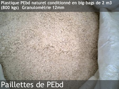 Plastique PEbd naturel conditionné en big-bags de 2 m3 (800 kgs) Granulométrie 12mm